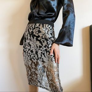 High Waist Silver Floral Sequined Sheer Midi Skirt